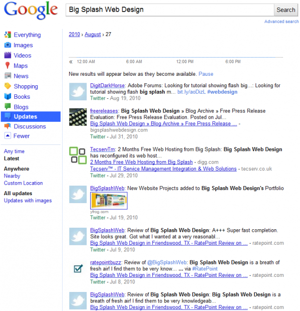 Google Realtime Search Example for Big Splash Web Design