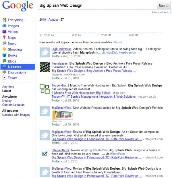 Google Realtime Search Example for Big Splash Web Design