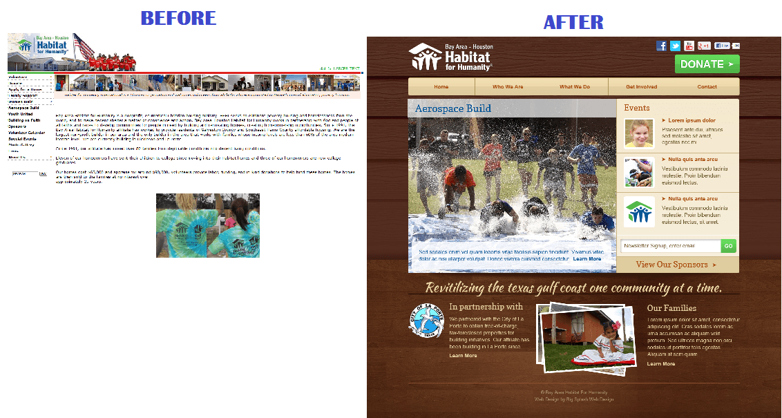 Bay Area Habitat for Humanity before and after website redesign