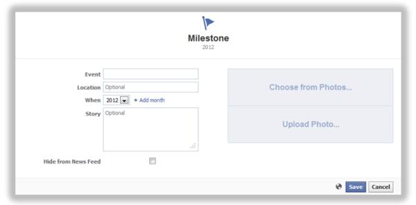 facebook timeline milestone creator