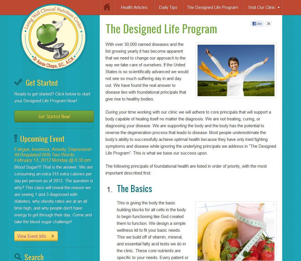just live well wordpress website
